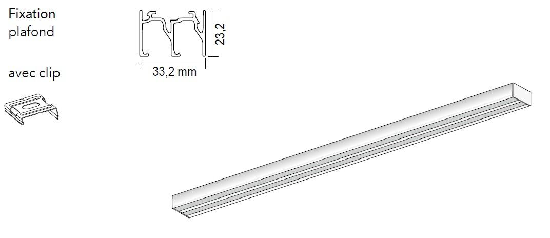 Rail pour panneaux coulissants 2 canaux - Achetez-le en ligne sur Laloux Stores !