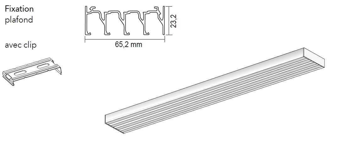 Rail pour panneaux coulissants 4 canaux - Achetez-le en ligne sur Laloux Stores !